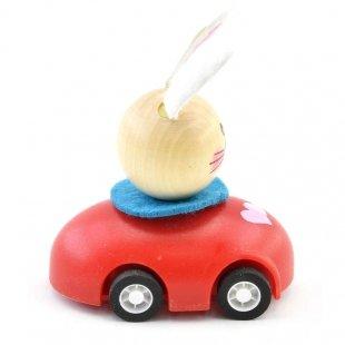 خرید اسباب بازی ماشین عقب کش چوبی با خرگوش راننده