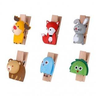 خرید گیره چوبی طرح حیوانات(6 عددی)