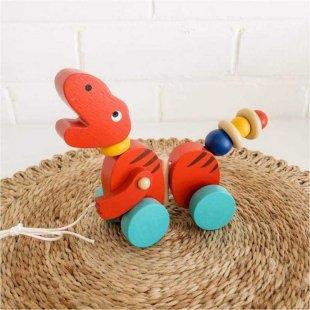 اسباب بازی چوبی دایناسور چرخ دار