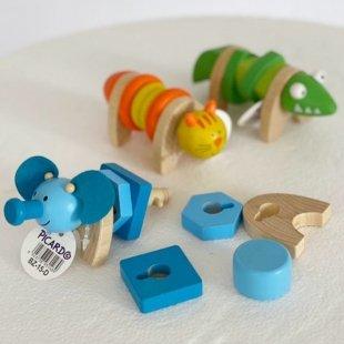 خرید اسباب بازی چوبی حیوانات پیچ و مهره ای پیکاردو
