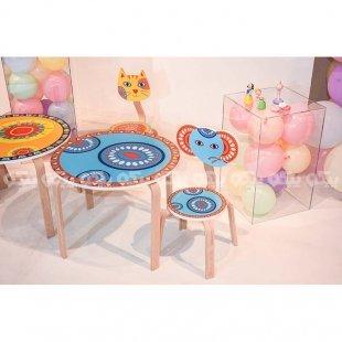 میز کودک چوبی آبی کد SD-03-D