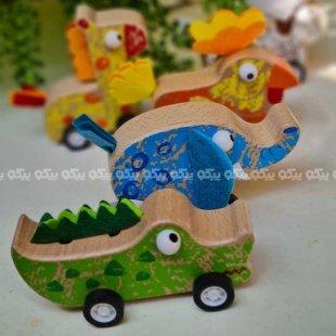 خرید اسباب بازی چوبی ماشین عقب کش