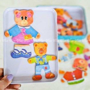 پازل مگنتی خرس با لباس
