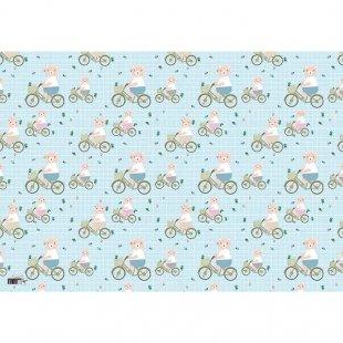 کاغذ کادو طرح خرس دوچرخه سوار