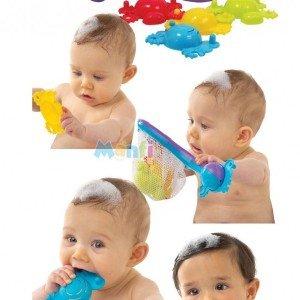 تور ماهیگیری playgro به همراه 4 ماهی با قابلیت اتصال ماهی ها به هم .مناسب برای بازی کودکان در حمام .