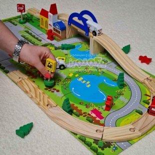 خرید اسباب بازی چوبی ساخت شهرک ترافیک