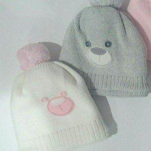 کلاه بافت منگوله دار خرسی  baby doll کد 50075 رنگ طوسی و کرم