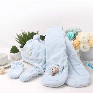 ست هدیه کلاه و دستکش و شال نوزادی fly by fly کد 15282 رنگ آبی