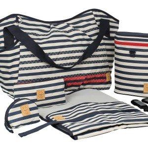 کیف 5 تکه لوازم نوزاد lassig مدل Twin Bag رنگ Striped zigzag navy کد LTWB103176
