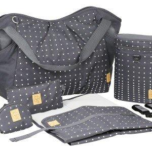 کیف 5 تکه لوازم نوزاد lassig مدل Twin Bag رنگ Dotted lines ebony کد LTWB147178