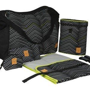 کیف 5 تکه لوازم نوزاد lassig مدل Twin Bag رنگ Zigzag black & white کد LTWB101175