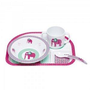ظرف غذای 4 تکه کودک lassig  مدل  Wildlife Elephant