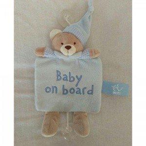 آویز هشدار کودک در ماشین baby on board کد 16300 (آبی و کرم)