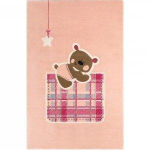 فرش اتاق کودک saint clair طرح خرس تدی صورتی کد 90115008