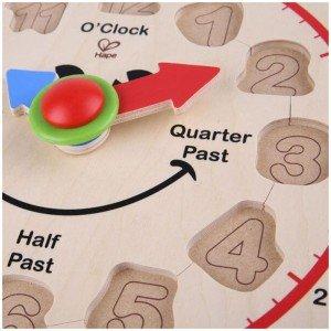 ساعت چوبی کودک happy hour clock hape 1600 بهتریت هدیه برای کودکان
