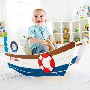 راکر چوبی کودک طرح قایق high seas rocker hape 0102