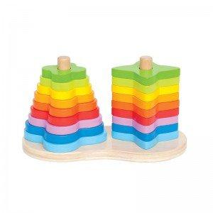 جورچین چوبی رنگین کمان 0406 Double Rainbow Stacker hape