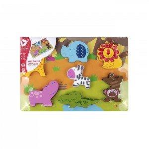 پازل سه بعدی حیوانات چوبی Classic World مدل Wild Animal 3D Puzzle 3551