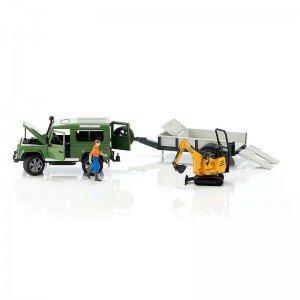 لندروور اسباب بازی با يدك كش اسب bruder مدل Defender And Horse Trailer 02592