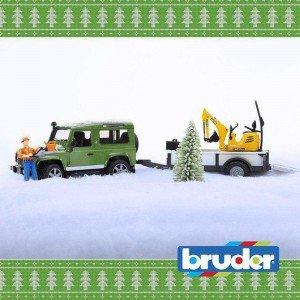 لندروور اسباب بازی با يدك كش و بلدوزر bruder مدل 02593