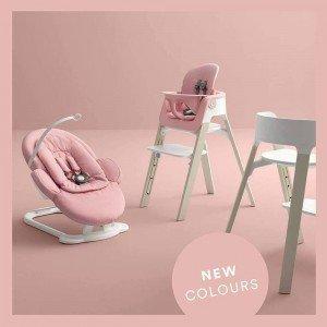 تنوع در ست کامل صندلی و صندلی غذای stokke steps pink