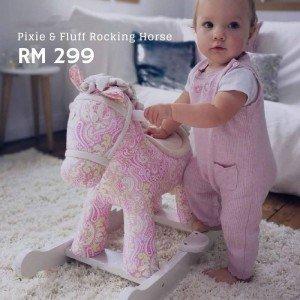 راکر اسب چوبی  صورتی(ترمه) با عروسک little bird کد 3022