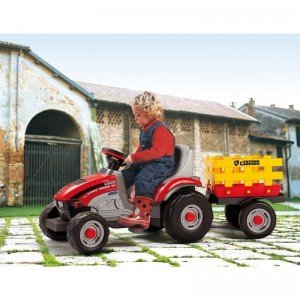 تراکتور پدالی قرمز با تریلر زرد mini toni tiger peg perego 0529