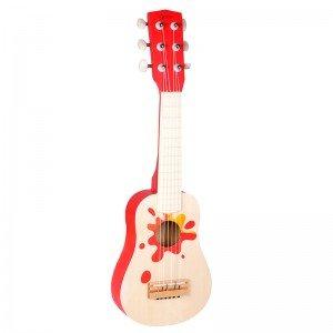 گیتار کودک قرمز چوبی