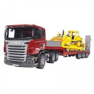 اسکانیای حمل لودر loader truck with CAT Bulldozer bruder 3555