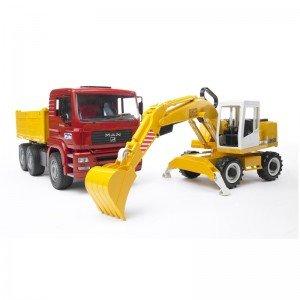 کامیون و بیل مکانیکی مان Man Construction Truck With Excavator bruder 2751