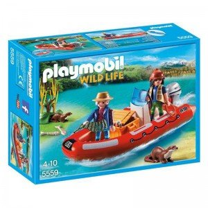 پلی موبيل مدل  Inflatable Boat with Explorers playmobil 5559