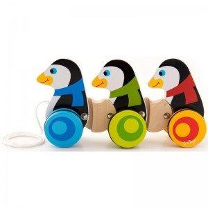 پنگوئن نخ کش چوبی کودک TREFL-Wooden Toy -moto nieloto 60658