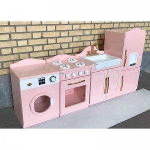 آشپزخانه 4 تکه رنگی سفید صورتی