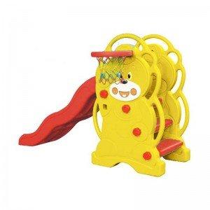 سرسره 3 پله موج دار خرس زرد با حلقه بسکتبال مدل 5065