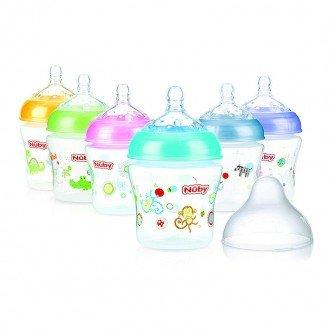 تنوع رنگ شیشه شیر  طرح دار nuby 1193