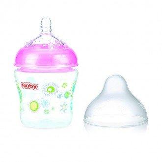 شیشه شیر صورتی طرح دار nuby 1193
