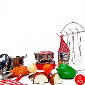 ست ظروف و لوازم آشپزحانه استیل 25 تکه بهترین هدیه برای کودکان