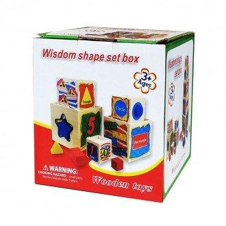 بسته بندی مکعب های در هم رونده چیدنی چوبی هوش و سرگرمی