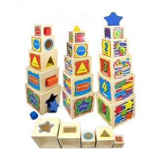 مکعب های در هم رونده چیدنی چوبی هوش و سرگرمی