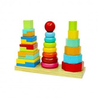 خرید برج چوبی هوش 3 تایی مدل 9991 بهترین هدیه برای کودکان