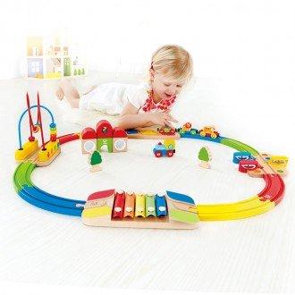 ریل قطار چوبی هوش و موسیقی Rainbow Route Railway hape کد 3816