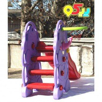 سرسره 3 پله موجدار فیل بنفش با حلقه بسکتبال مدل 5030