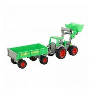 فروش تراکتور سبز با لودر و تریلی polesie مدل 37770