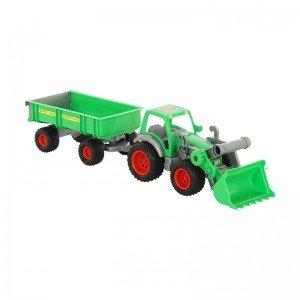 خرید تراکتور سبز با لودر و تریلی polesie مدل 37770