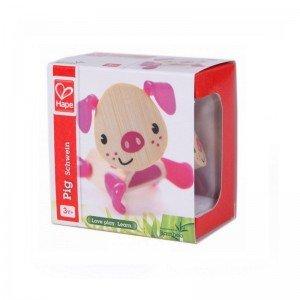 عروسک خوک صورتی چوبی Hape مدل 5536