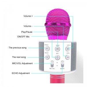 خرید میکروفون اسپیکر دار مشکی مدل 858