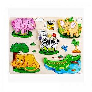 پازل چوبی حیوانات وحشی 5 تکه مدل 1411