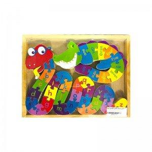 پازل  حروف الفبا انگلیسی طرح مار و تمساح مدل 6106