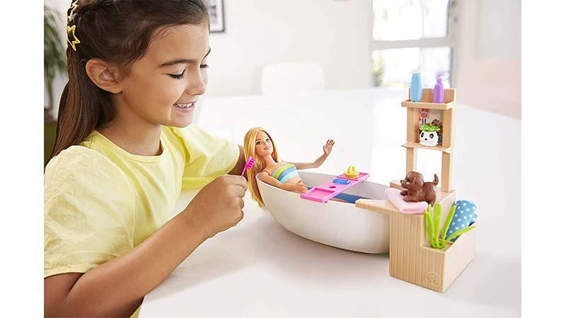 خرید عروسک باربی اورجینال با وسایل حمام