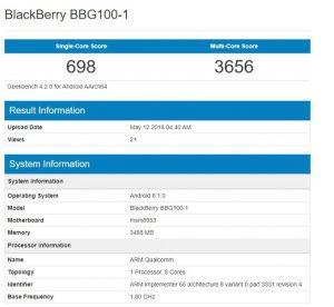 خبرگوناگون بلکبری BBG100-1 در گیکبنچ رویت شد